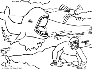 Jonah And The Fish Coloring Page