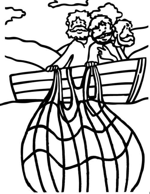 Jesus Fishing Boat Coloring Pages