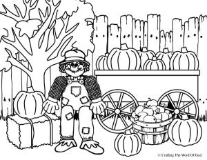 Thanksgiving Scare Crow Coloring Page