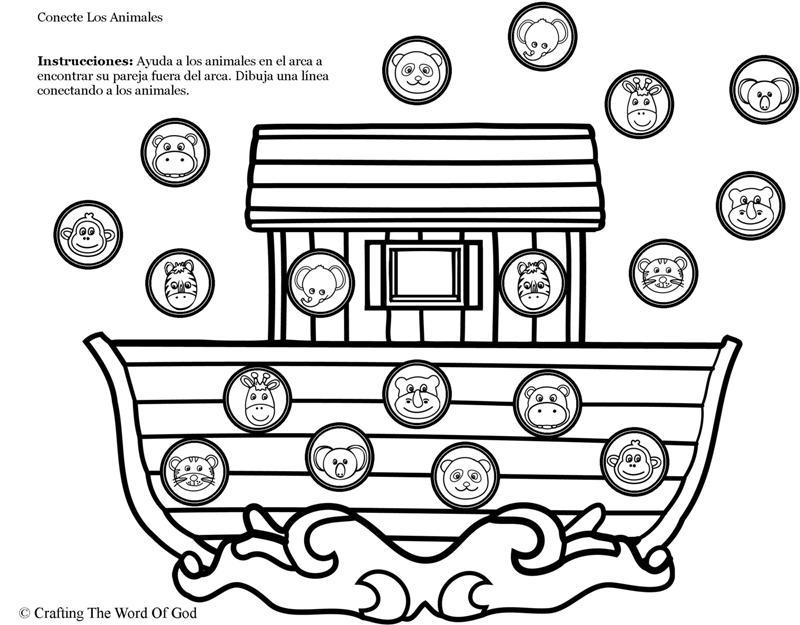 Arca De Noe Conecte Los Animales Pagina De Actividades