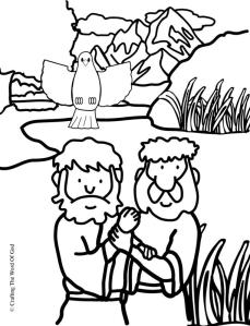 Jesus Baptism Coloring Page